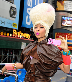 Nicki Minaj Casio TRYX Nicki Minaj Donates Her Famous Pink Camera for Japan's Quake Relief Charity Auction