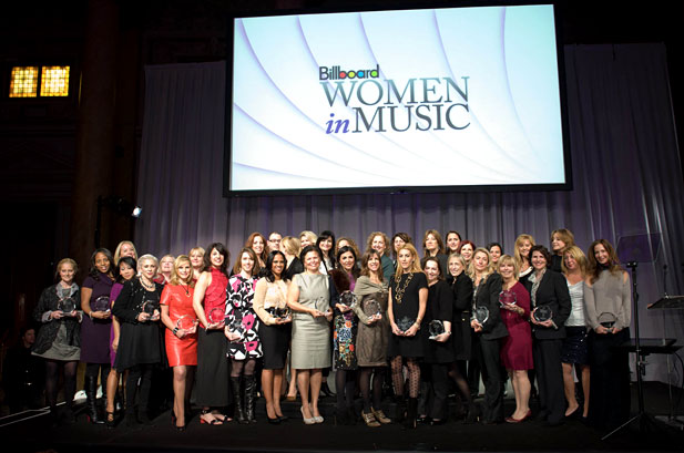 women in music stage Taylor Swift & Nicki Minaj Honored at Billboard Women in Music Event