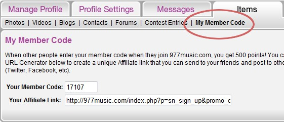 977member code(1) Earn Free Points & Prizes at 977 Online Music Radio